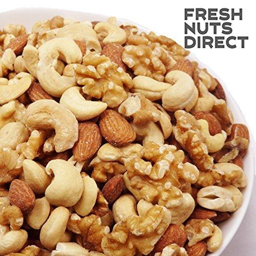 10%OFF!! 大粒3種 ミックスナッツ 1kg (新物生くるみ、素焼きカシュー、素焼きアーモンド)無添加 無塩 食物油不使用_画像1