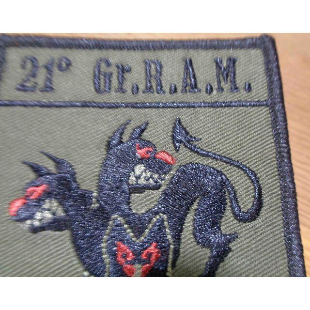 軍色◆新品未使用 イタリア軍 21° Gr.R.A.M.3頭犬 狼 刺繍ワッペン(パッチ)◆イタリア語◇サバゲー・ミリタリー◎激シブ_画像2