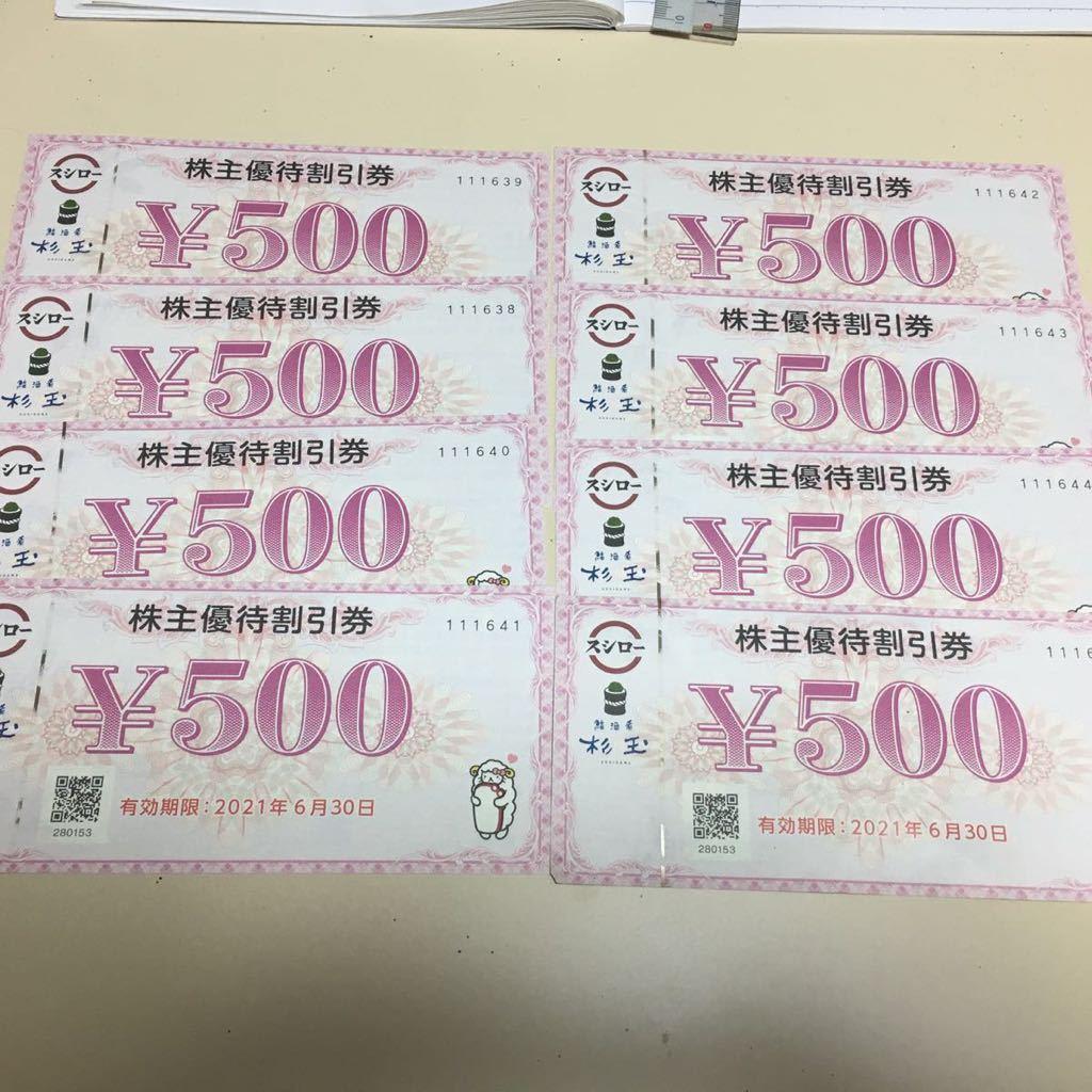 スシロー 株主優待割引券 500円券 8枚_画像1