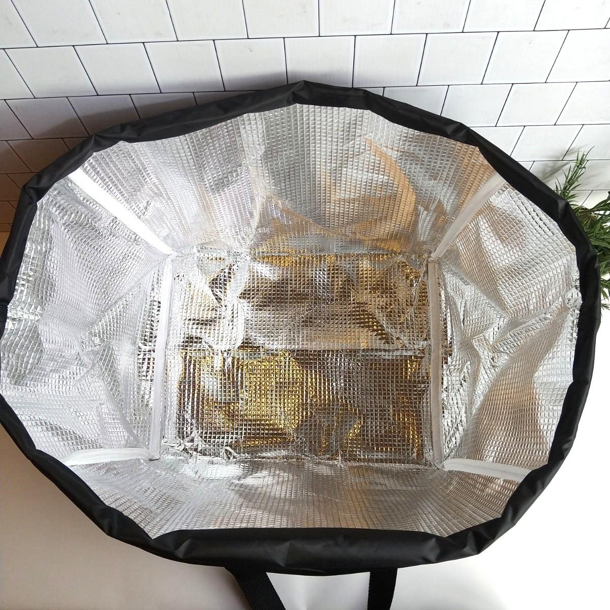 【新品】カゴ柄×ブラック★保冷レジカゴバッグ エコバッグ 大容量