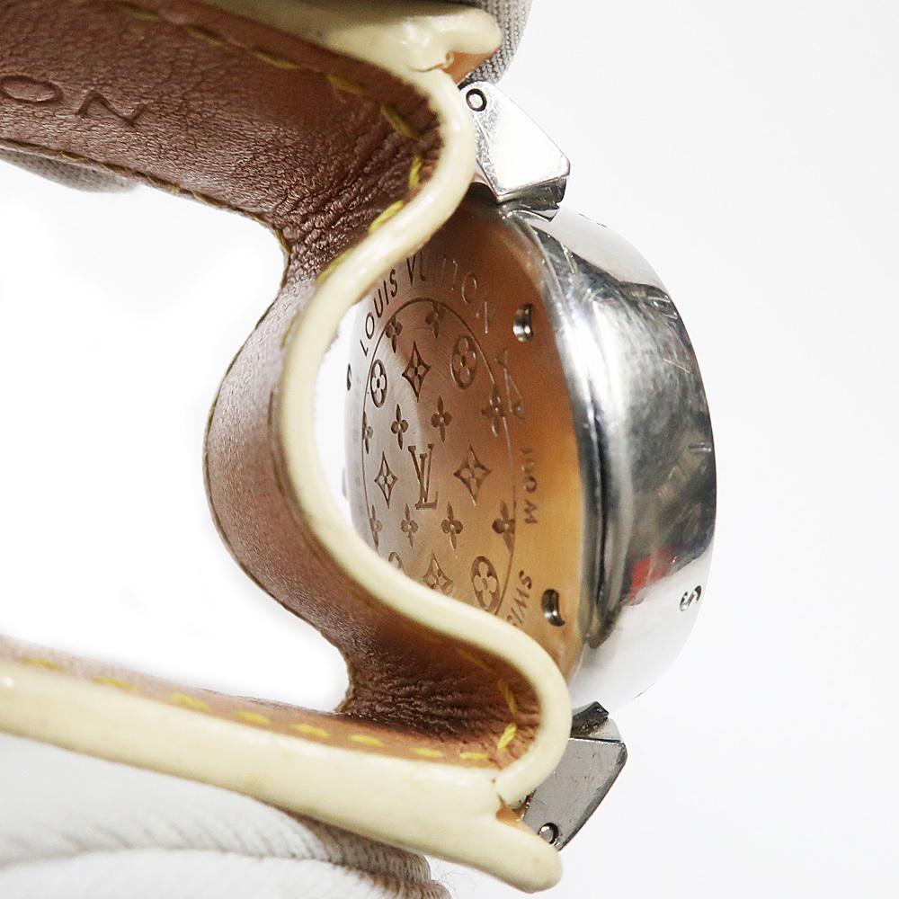 【名東】ルイヴィトン タンブール Q1211 レディース ヴェルニレザーベルト SS 革ベルト クォーツ 腕時計 女_画像6