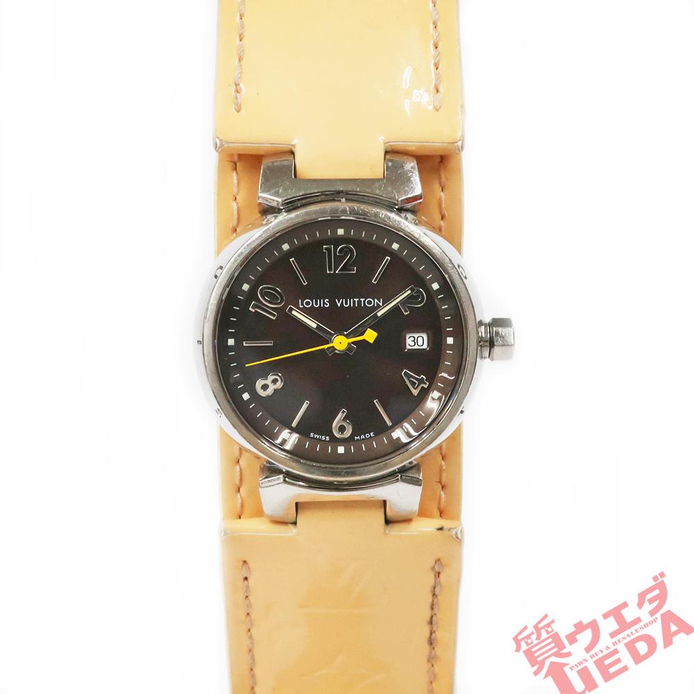 【名東】ルイヴィトン タンブール Q1211 レディース ヴェルニレザーベルト SS 革ベルト クォーツ 腕時計 女_画像1