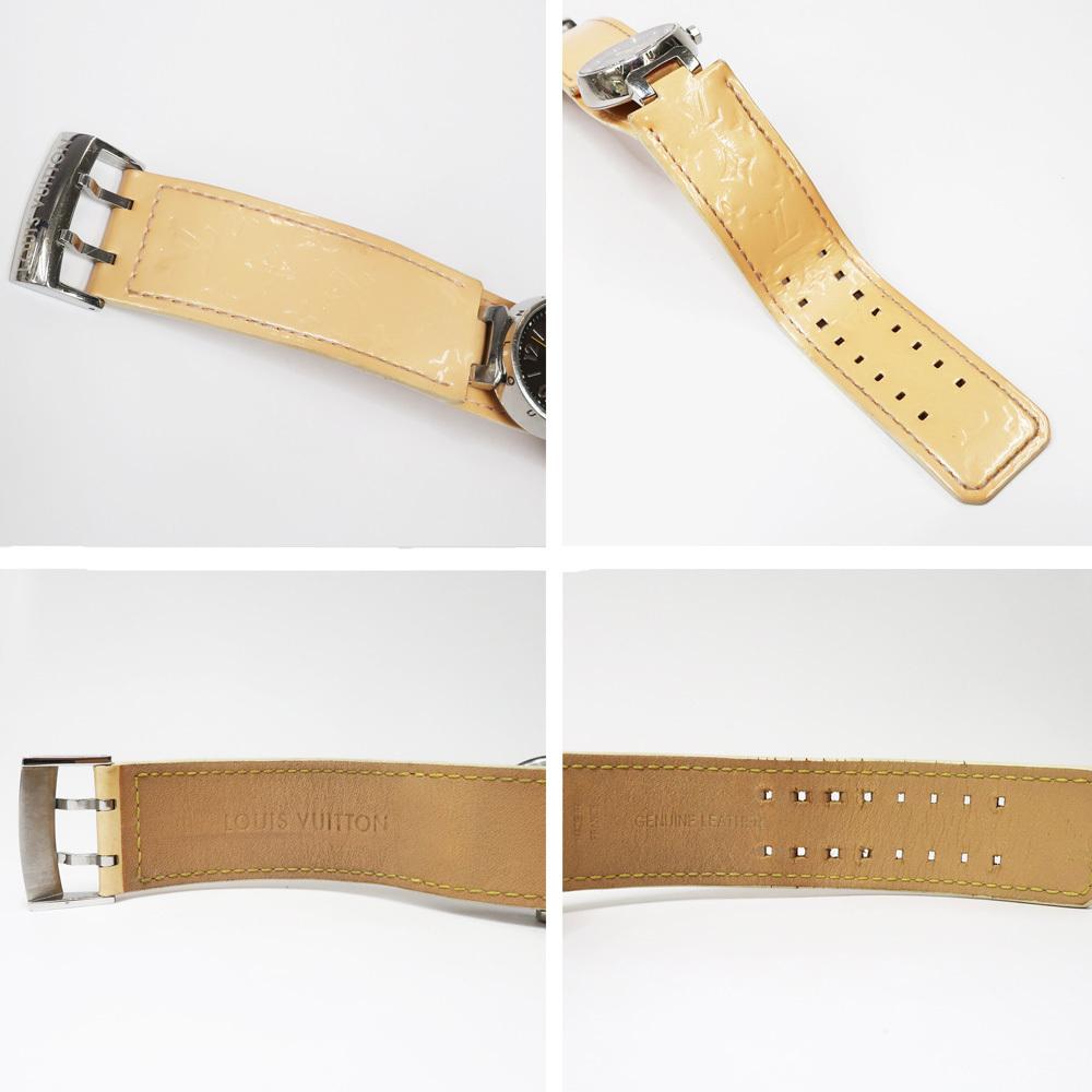 【名東】ルイヴィトン タンブール Q1211 レディース ヴェルニレザーベルト SS 革ベルト クォーツ 腕時計 女_画像7