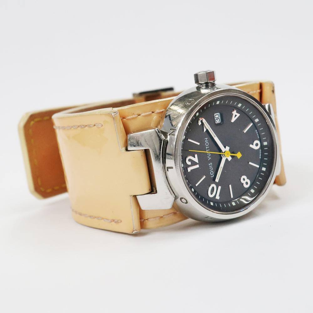 【名東】ルイヴィトン タンブール Q1211 レディース ヴェルニレザーベルト SS 革ベルト クォーツ 腕時計 女_画像2