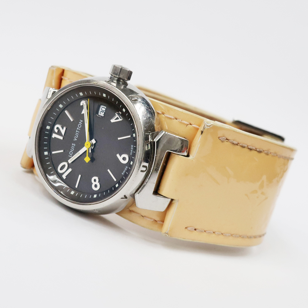 【名東】ルイヴィトン タンブール Q1211 レディース ヴェルニレザーベルト SS 革ベルト クォーツ 腕時計 女_画像3