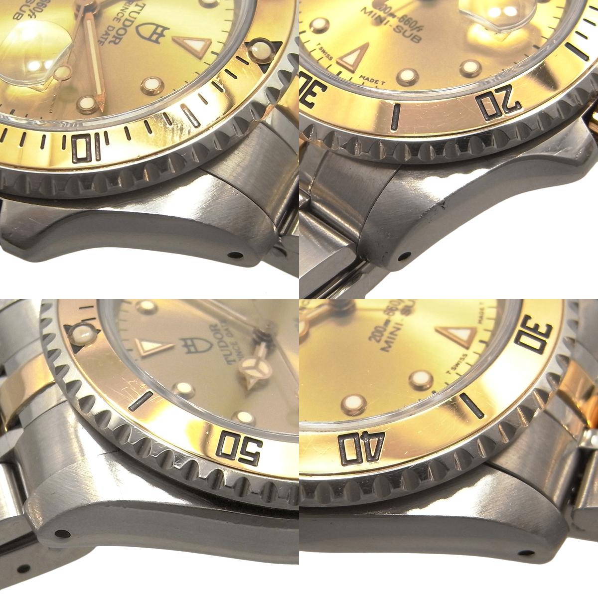 チュードル プリンスデイト ミニサブ 73193 自動巻き オートマ ゴールド文字盤 コンビ YG/SS ボーイズ チューダー TUDOR MINI-SUB_画像3