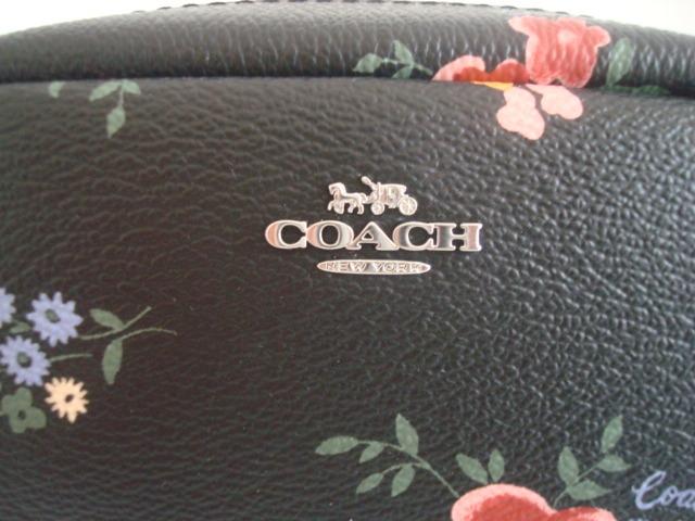 新品・未使用 コーチ COACH 女性用 花柄 フローラル キャンパス ミニ化粧ポーチ メイク入れ コスメ マルチポーチ 黒 ブラック