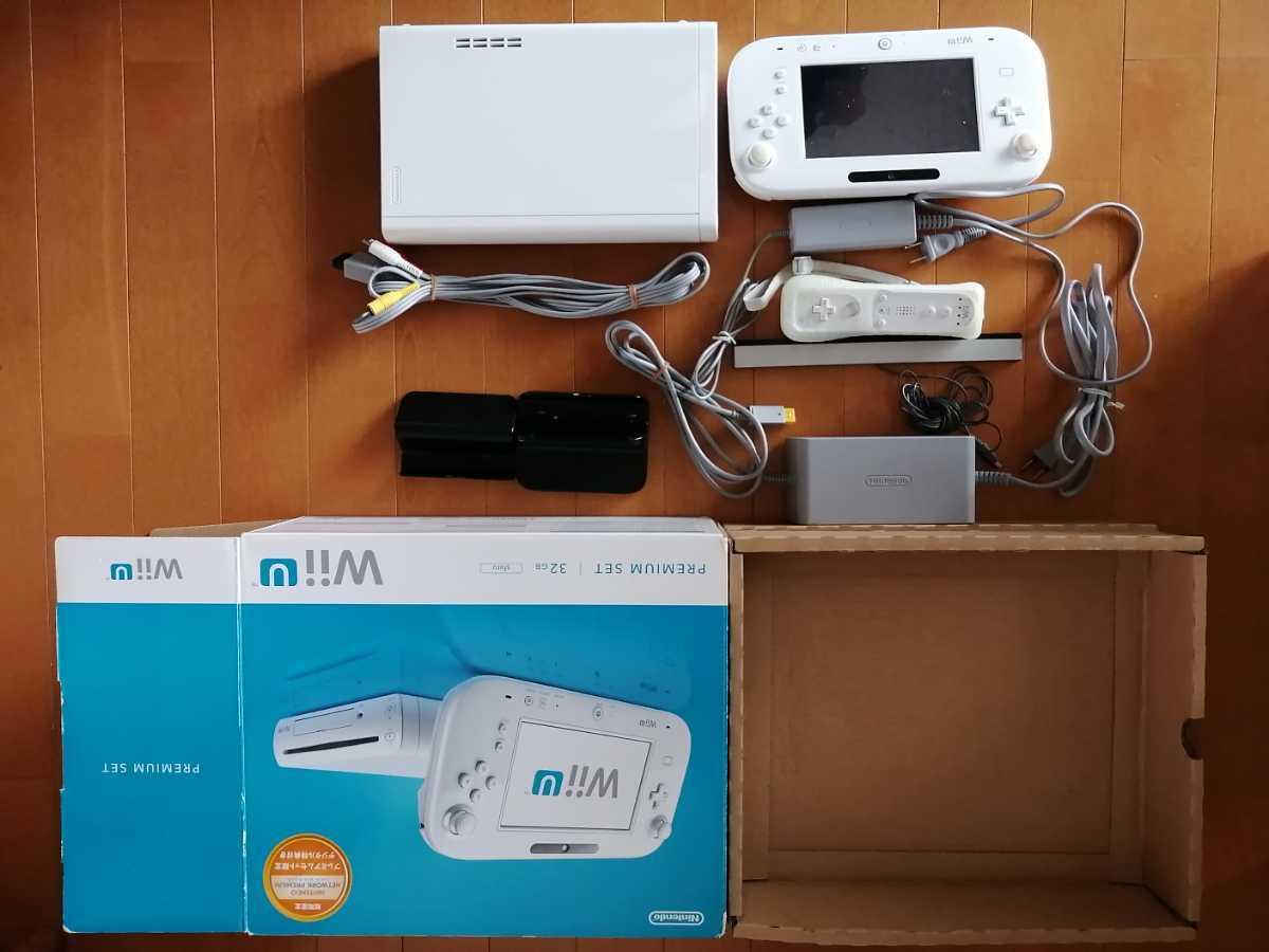 美品 ワンオーナー 液晶フィルム貼り付け センサーバー、リモコンおまけ WiiU 本体 プレミアムセット 32GB 白 動作確認済 任天堂 状態良好