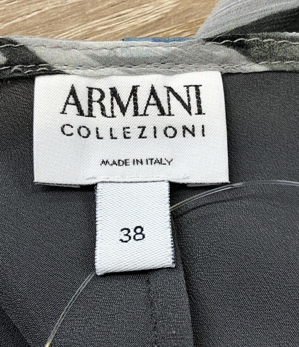 アルマーニコレッツォーニ ノースリーブシャツ シルク100% レディース SIZE 38 (S) ARMANI COLLEZIONI_画像3