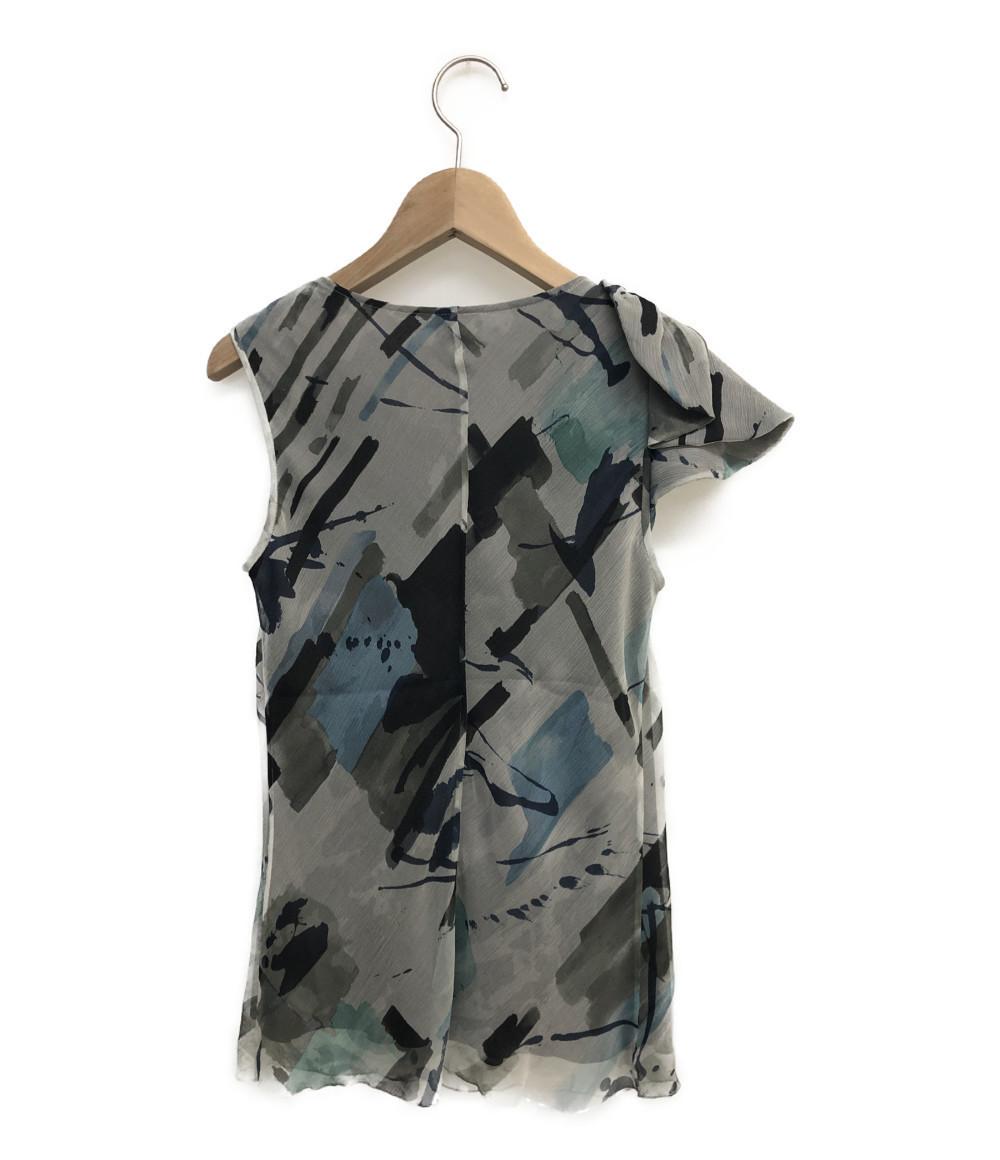 アルマーニコレッツォーニ ノースリーブシャツ シルク100% レディース SIZE 38 (S) ARMANI COLLEZIONI_画像2