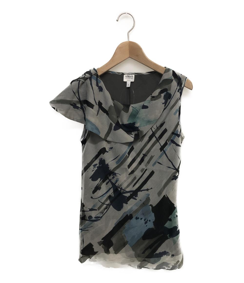 アルマーニコレッツォーニ ノースリーブシャツ シルク100% レディース SIZE 38 (S) ARMANI COLLEZIONI_画像1