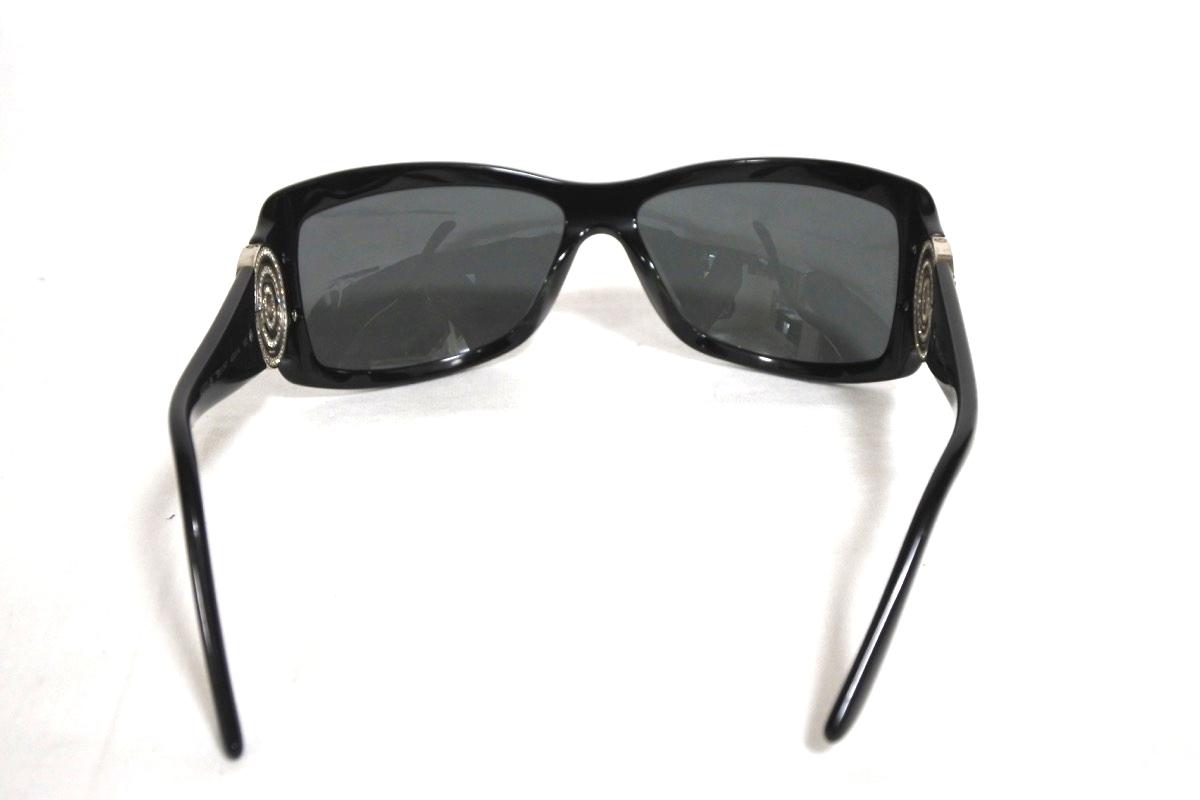 希少!ブルガリ ビジュー付きサングラス 8007-B 501/87 ロゴ ブラック×シルバー ストーン キラキラ サークル B-zero 袋付き スクエア型_画像5