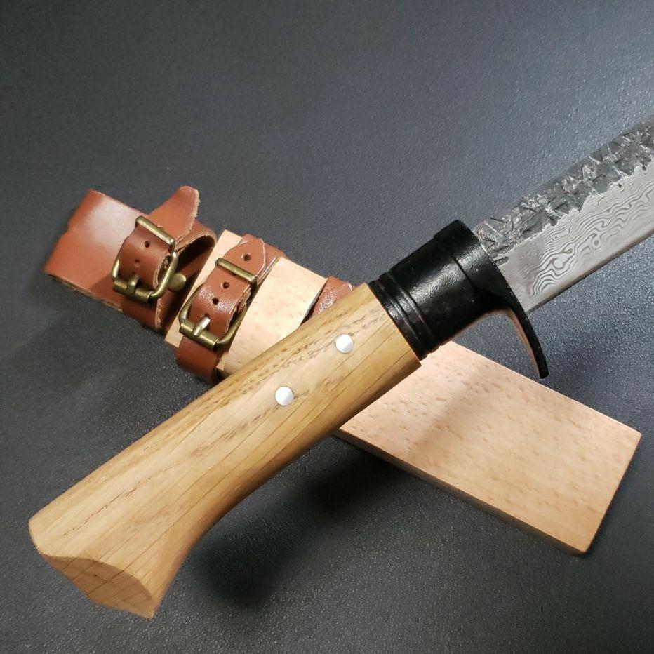 鉈 剣鉈 ナタ ナイフ 鍛造 和式 ダマスカス紋様 アウトドア キャンプ  登山