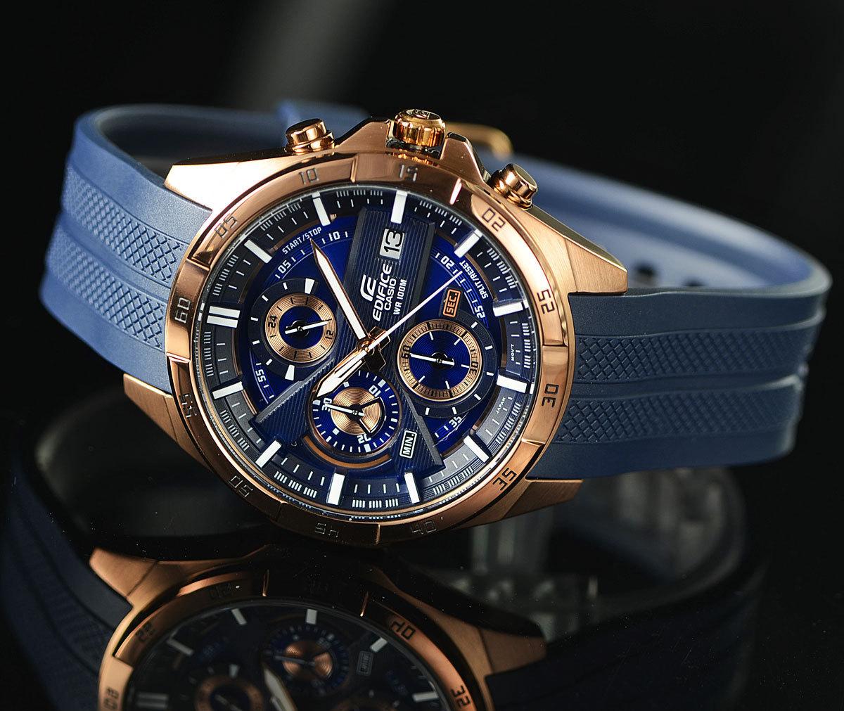 1円開始 カシオ 逆輸入EDIFICE 深みあるダークブルー&豪華ブロンズ 100m防水クロノグラフ 日本未発売 CASIO未使用メンズ カシオ腕時計_品質で選べば世界のカシオ