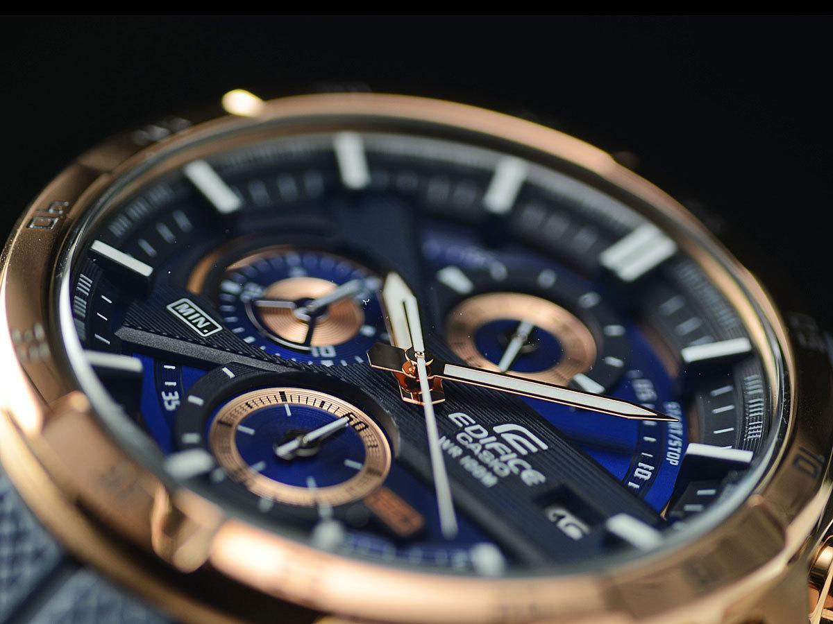 1円開始 カシオ 逆輸入EDIFICE 深みあるダークブルー&豪華ブロンズ 100m防水クロノグラフ 日本未発売 CASIO未使用メンズ カシオ腕時計_深みあるダークブルーと華やかなゴールド
