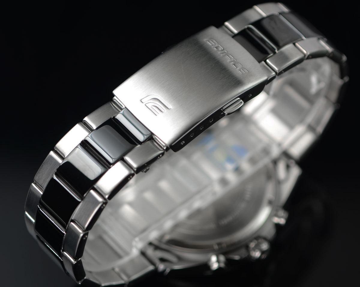 1円開始 カシオEDIFICEエディフィス 逆輸入 ブラックコンビネーション 100m防水 クロノグラフ 腕時計 新品 未使用 CASIO メンズ 本物_画像6