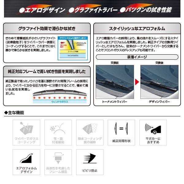 【送料無料】 NWB グラファイト デザインワイパー 左右 2本セット 三菱 ランサーエボリューションX ランエボX CZ4A 600mm×425mm D60 D43_画像3