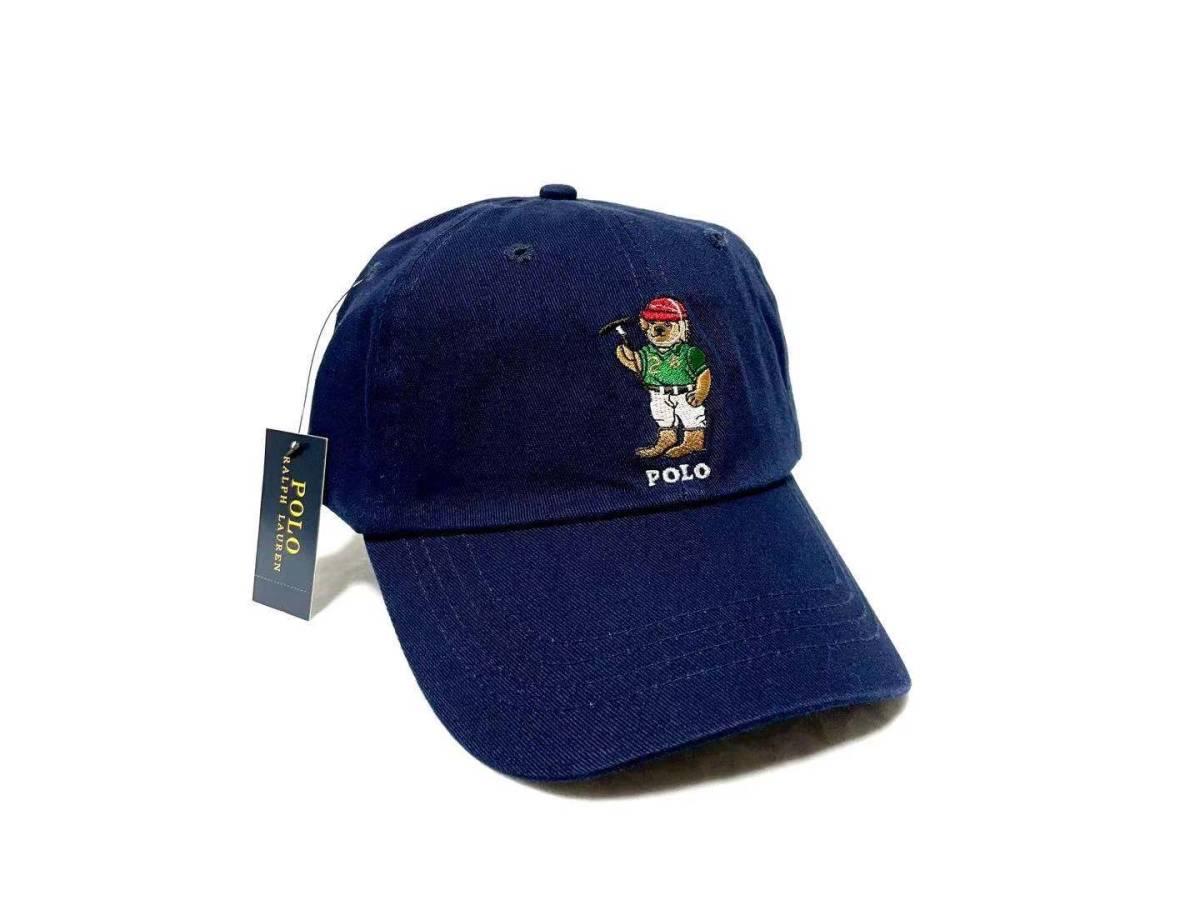未使用 POLO RALPH LAUREN ポロ ラルフローレン ポロベアー刺繍 帽子 キャップ メンズ レディース ローキャップラルフ アメカジ R-B02NVY
