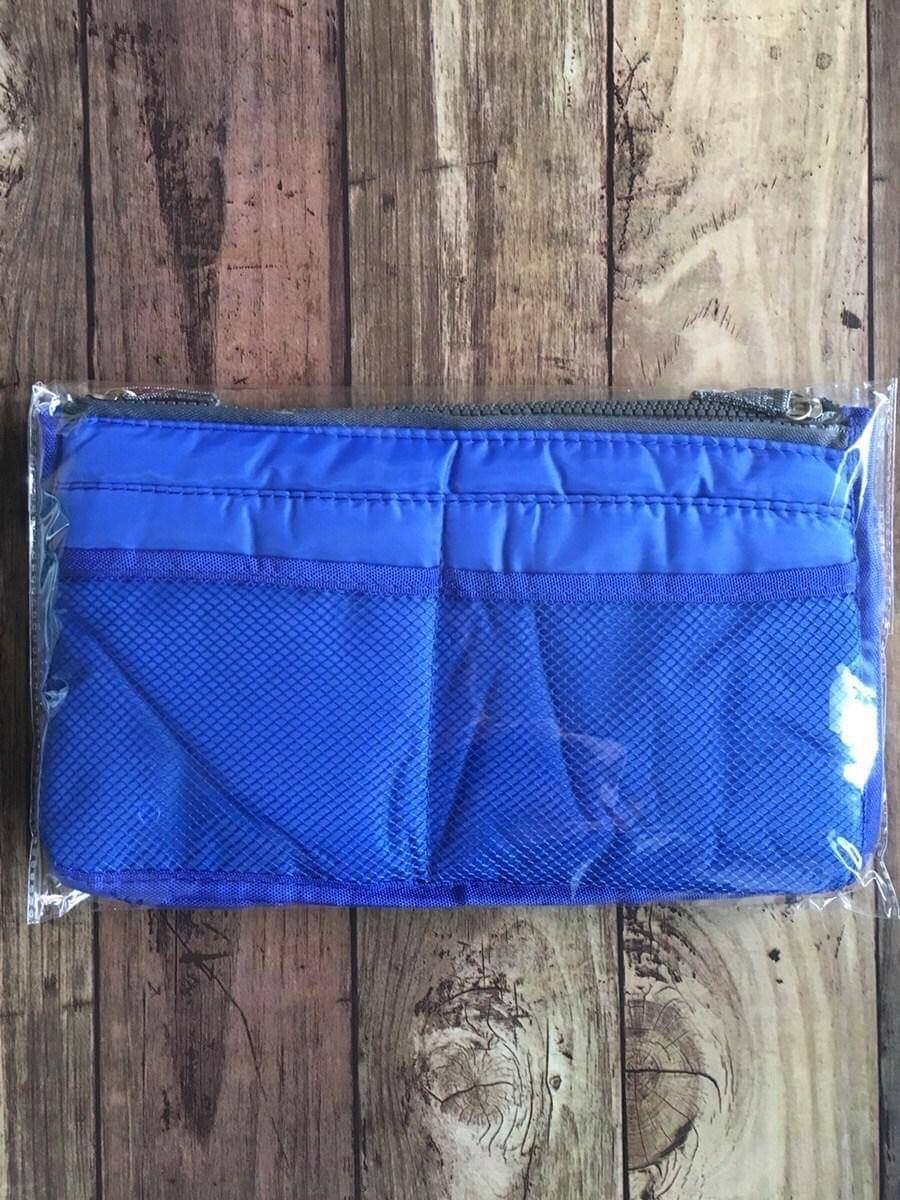 バッグインバッグ ブルー インナーバッグ 小物収納 化粧ポーチ 収納上手