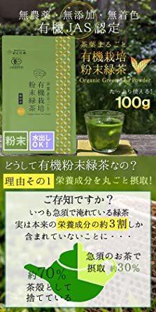 1袋 Honjien tea ほんぢ園 日本茶 国産 オーガニック 有機 粉末緑茶 100g JAS認定 有機栽培 _画像2