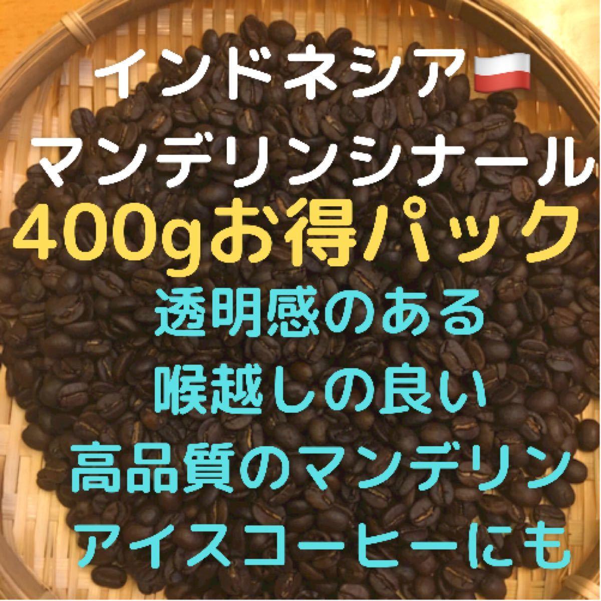 自家焙煎 インドネシア マンデリンシナール400g 豆又は粉 匿名配送