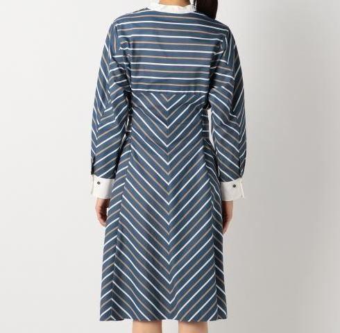 ◆自由区 美品 大きいサイズ ストライプ りぼん シャツ ワンピース_画像3