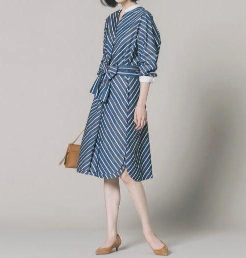 ◆自由区 美品 大きいサイズ ストライプ りぼん シャツ ワンピース_画像2