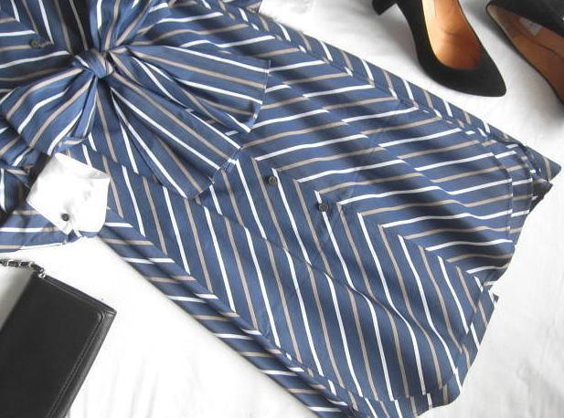 ◆自由区 美品 大きいサイズ ストライプ りぼん シャツ ワンピース_画像6