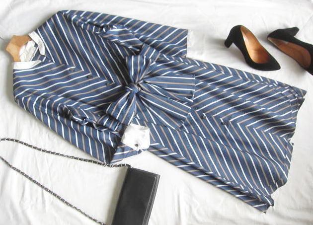 ◆自由区 美品 大きいサイズ ストライプ りぼん シャツ ワンピース_画像1