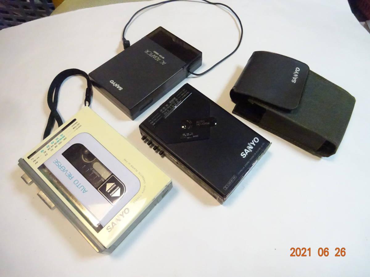 SANYO サンヨー JJ-F4 JJ-F40 カセットプレーヤー 2台セット D1-C1500 チャージャー付 ジ