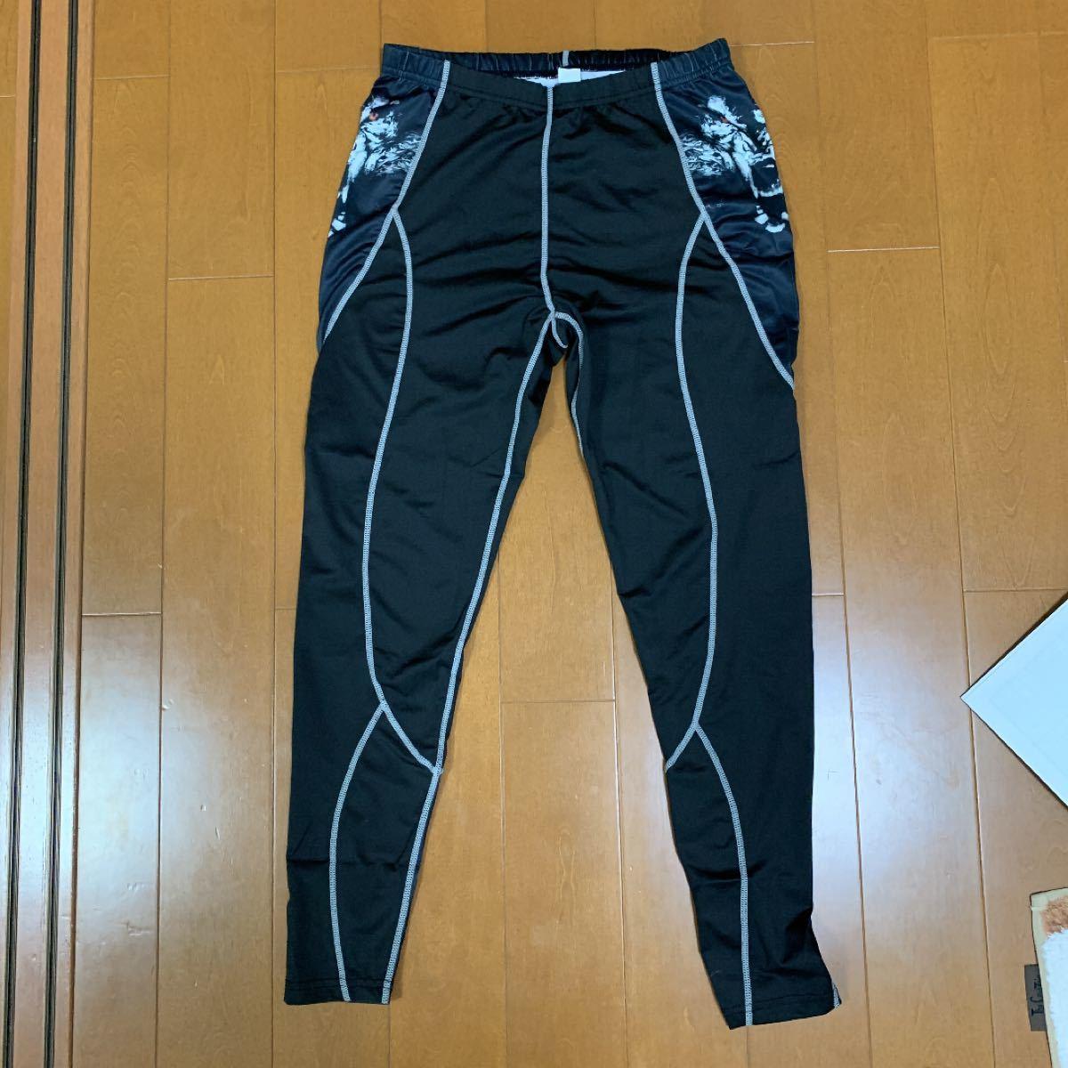 上下セット アンダーシャツ タイツ メンズ 長袖 加圧インナー スポーツウェア Lサイズ