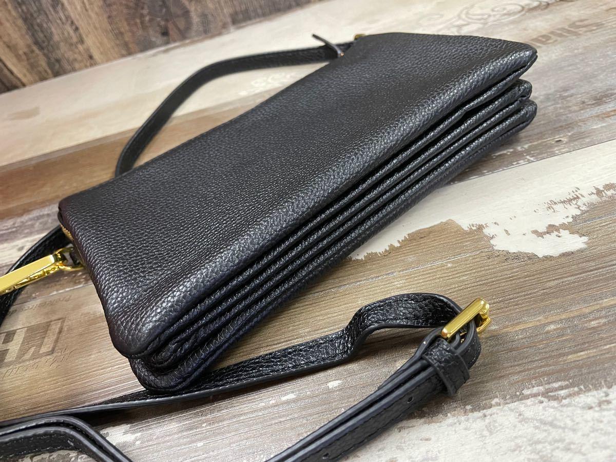 ショルダーバッグ お財布ポシェット 本革 レディース 長財布 斜め掛け シンプル コンパクト ブラック