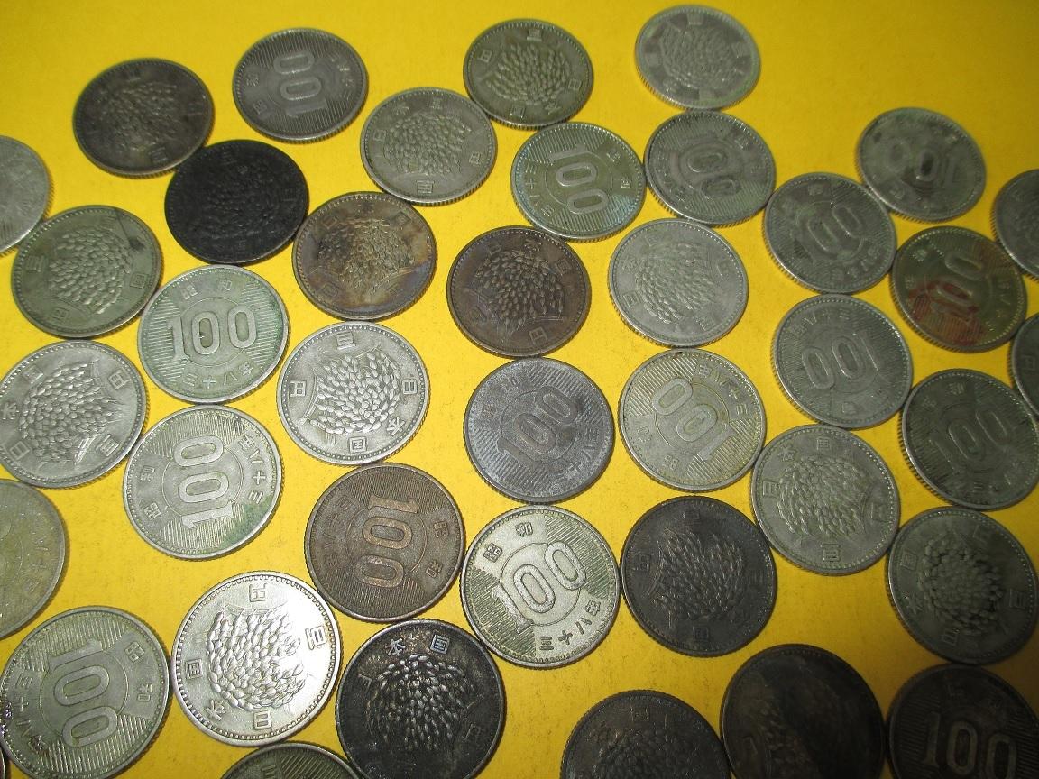 ☆稲100円銀貨《昭和38年》  50枚  並下~並品~普通品_画像4