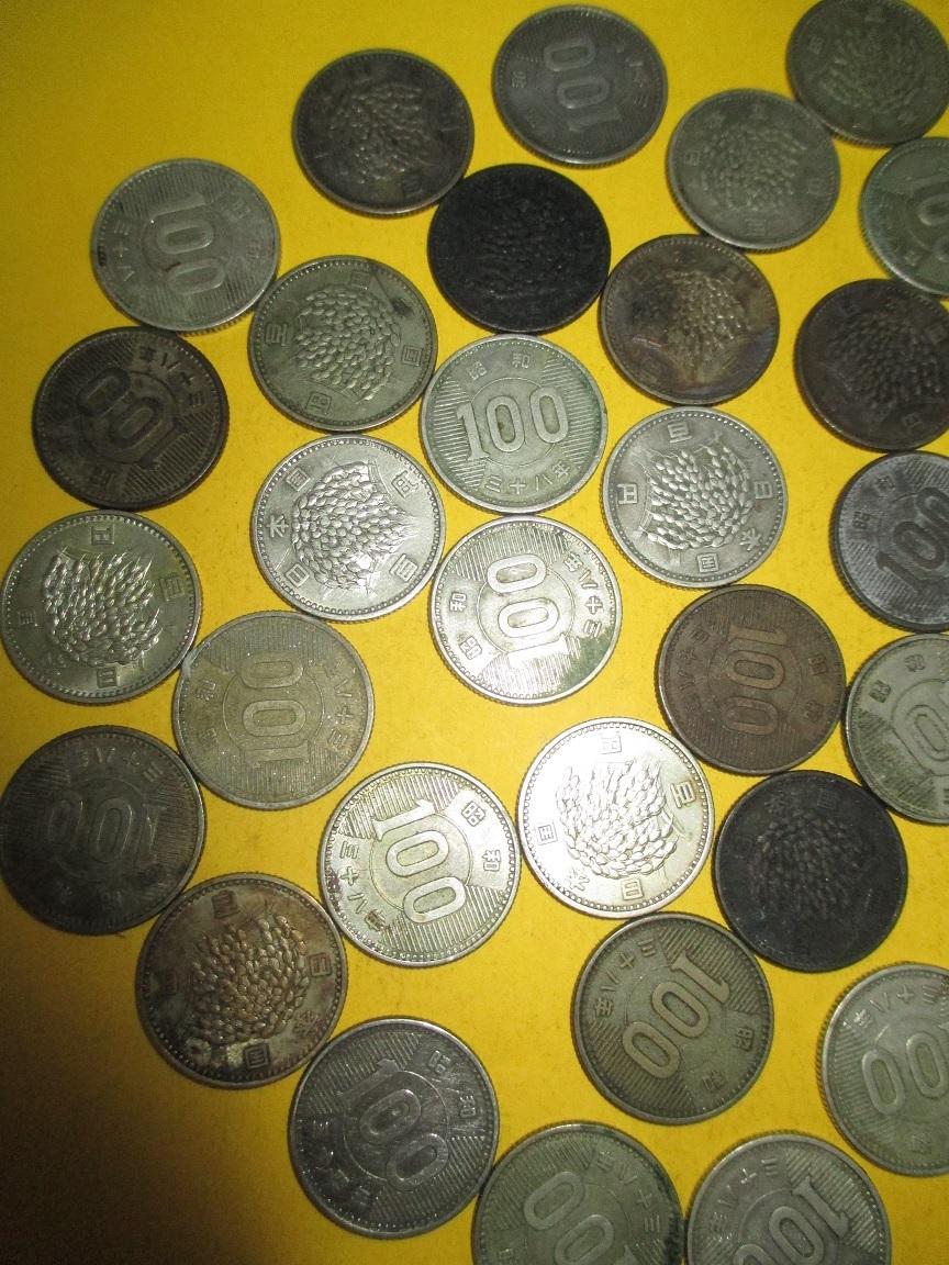 ☆稲100円銀貨《昭和38年》  50枚  並下~並品~普通品_画像2