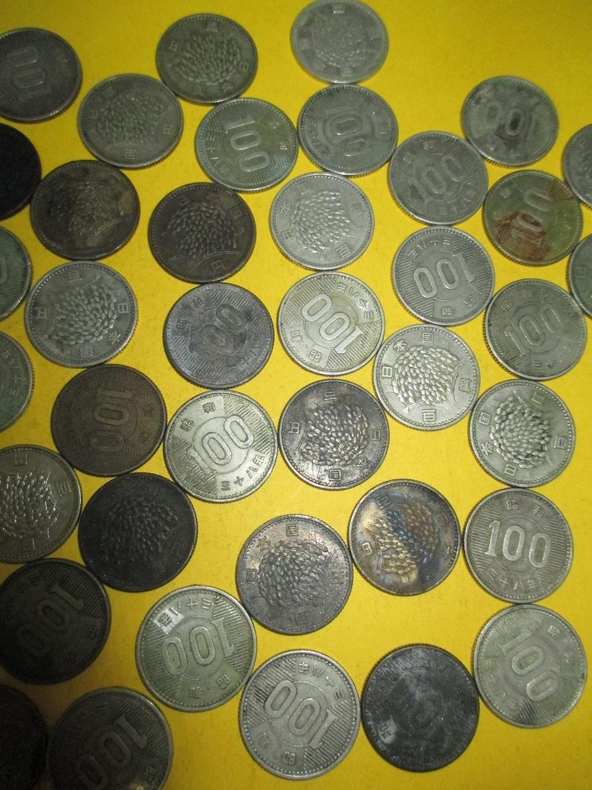 ☆稲100円銀貨《昭和38年》  50枚  並下~並品~普通品_画像3
