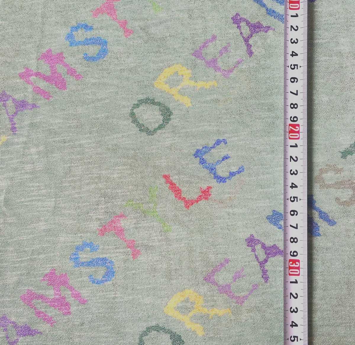 英字 超薄 スラブ Tシャツニット 150×50cm 生地 ニット生地 ハンドメイド アッシュグリーン アルファベット 布 リメイク はぎれ ハギレ