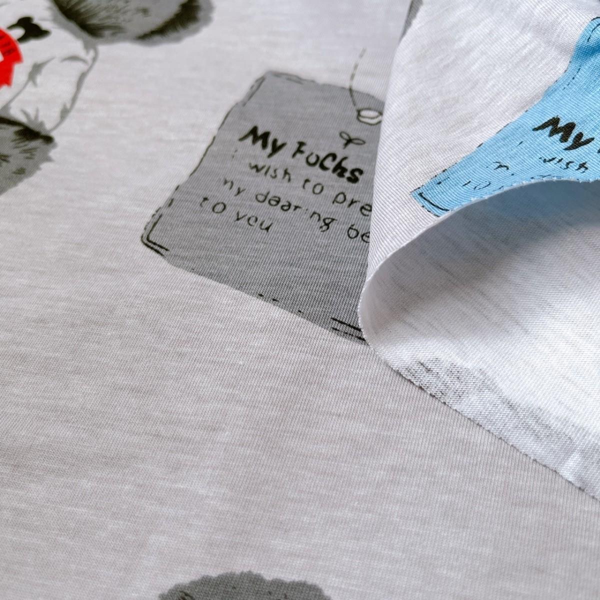 色が変化! テディベア Tシャツニット 生地 くま クマ くまさん 布 ハギレ はぎれ ハンドメイド ニット生地 コットン