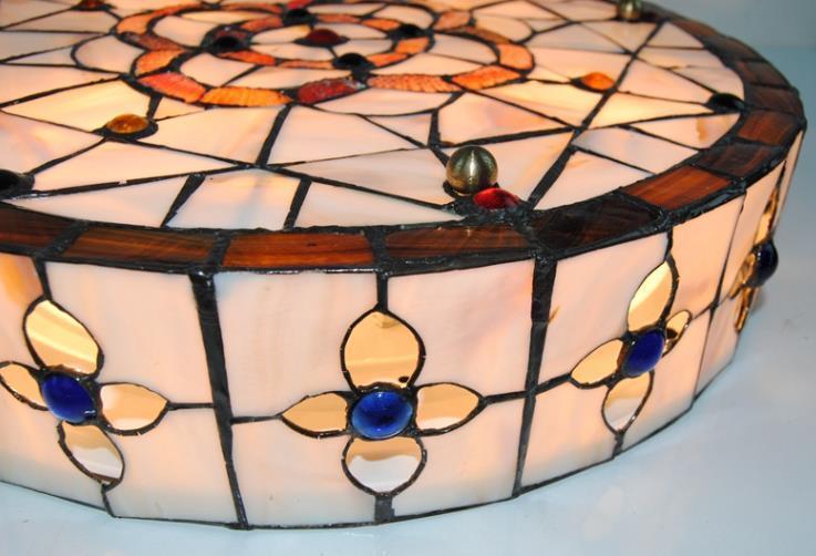 高品質☆ ステンドグラス ペンダントライト 豪華天井照明ステンドグラスランプ ガラス貝工芸品_画像4