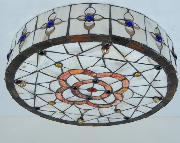 高品質☆ ステンドグラス ペンダントライト 豪華天井照明ステンドグラスランプ ガラス貝工芸品_画像7