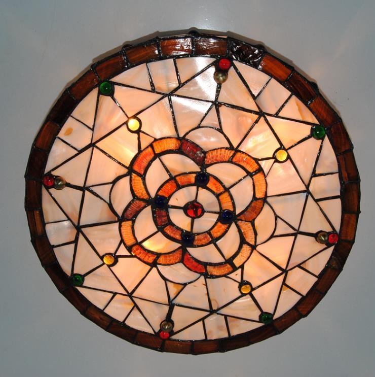 高品質☆ ステンドグラス ペンダントライト 豪華天井照明ステンドグラスランプ ガラス貝工芸品_画像1