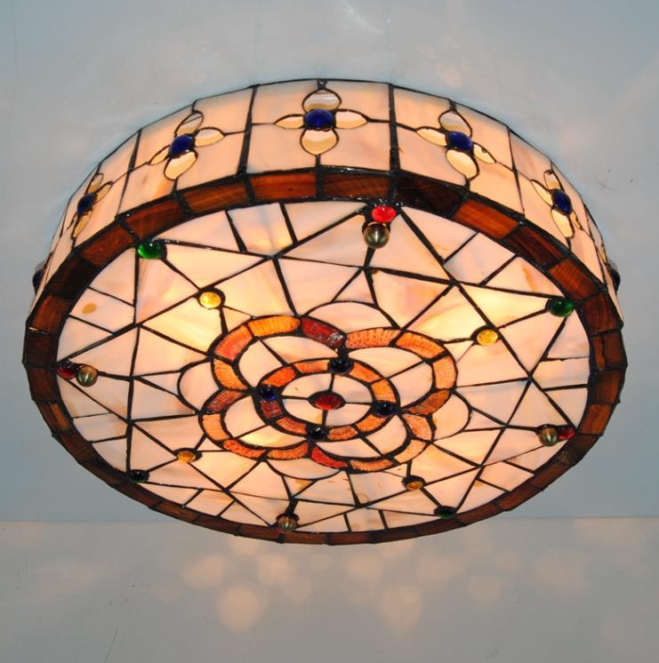 高品質☆ ステンドグラス ペンダントライト 豪華天井照明ステンドグラスランプ ガラス貝工芸品_画像2