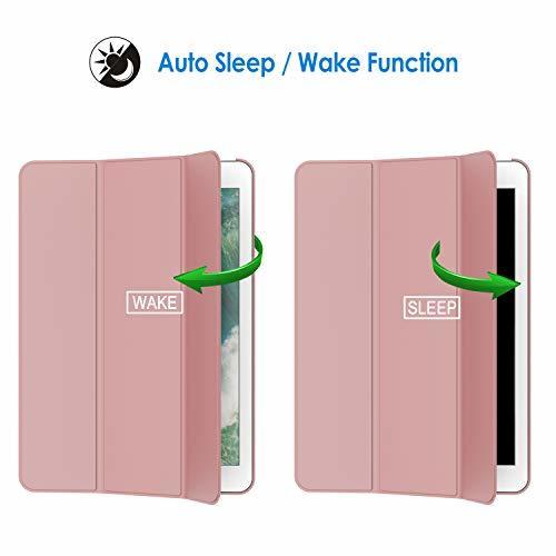 ピンク JEDirect iPad 9.7 (2018 / 2017) ケース PUレザー 三つ折スタンド オートスリープ機能 _画像4