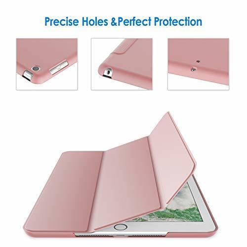 ピンク JEDirect iPad 9.7 (2018 / 2017) ケース PUレザー 三つ折スタンド オートスリープ機能 _画像5