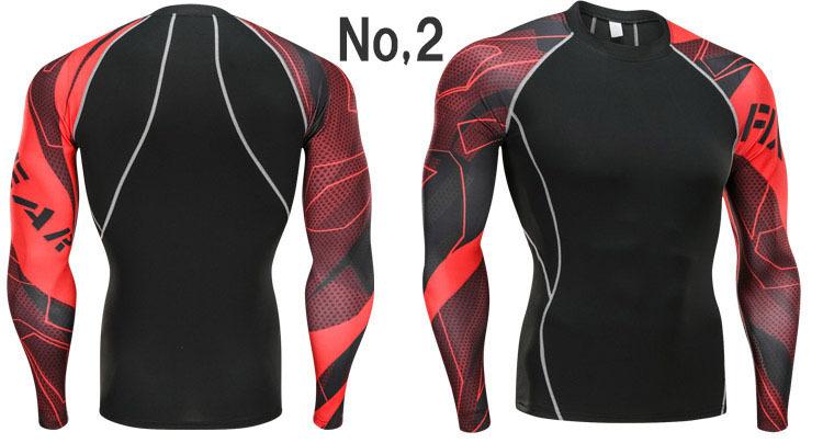 コンプレッションウエア No,2 Lサイズ メンズ 加圧インナー アンダーシャツ トレーニングウエア スポーツウエア 長袖 吸汗 速乾 p12