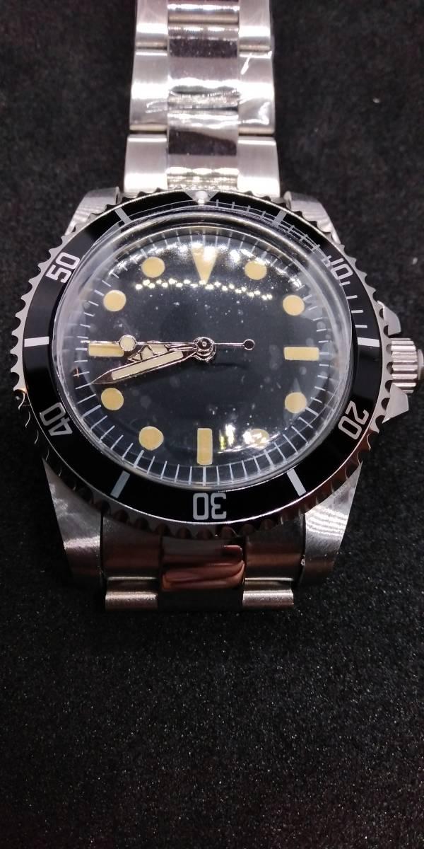 NEW1960ノーロゴ 40mm アクリルドーム ステンレス鋼バンド 高級自動機械式腕時計 ブラックフェイス オマージュウォッチ 新品 国内発送