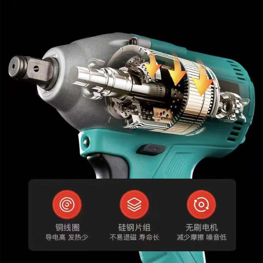 インパクトレンチ 電気ドリル タイヤ交換 充電式 無段変速 正逆転両用 過負荷保護 過熱保護 LEDライト バッテリー 充電器 セット_画像4