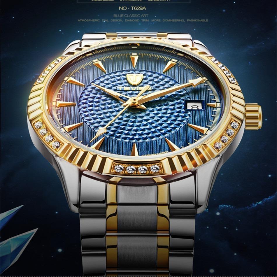 【激安価格】メンズ腕時計 40mm 機械式 自動巻 カレンダー 海外人気 夜光 防水 男性 ウォッチ 紳士 通勤 ファション ブルー_画像2