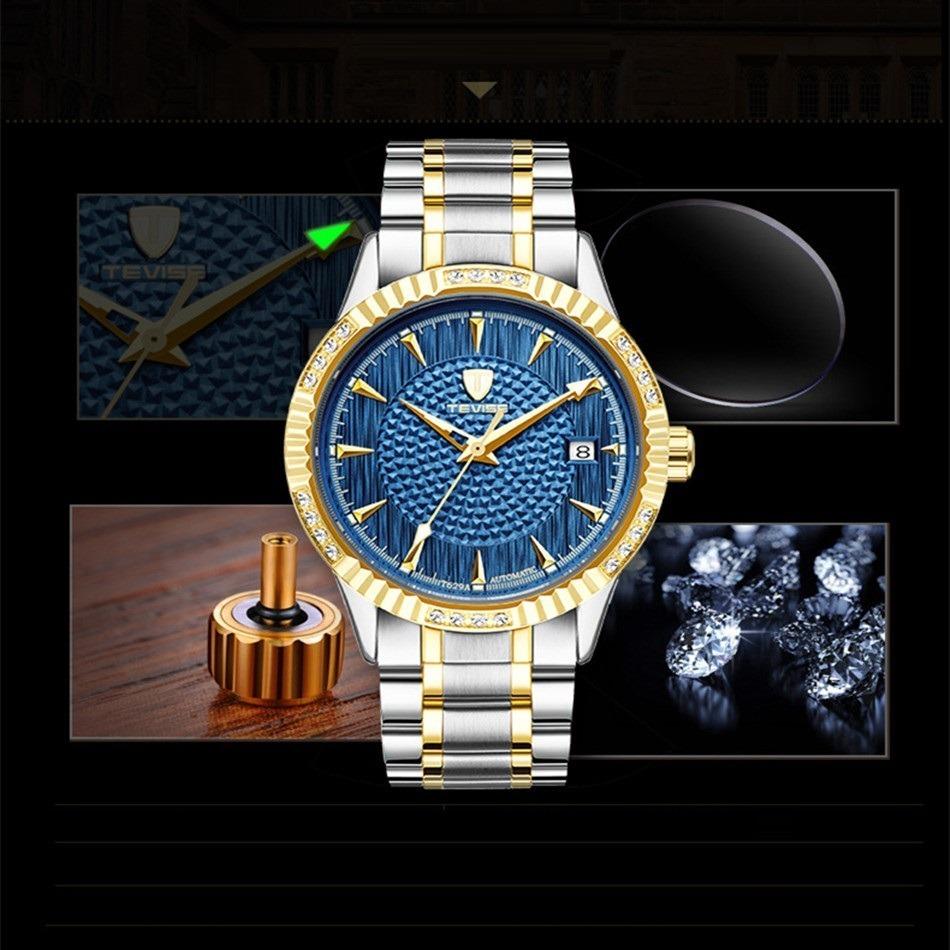 【激安価格】メンズ腕時計 40mm 機械式 自動巻 カレンダー 海外人気 夜光 防水 男性 ウォッチ 紳士 通勤 ファション ブルー_画像5