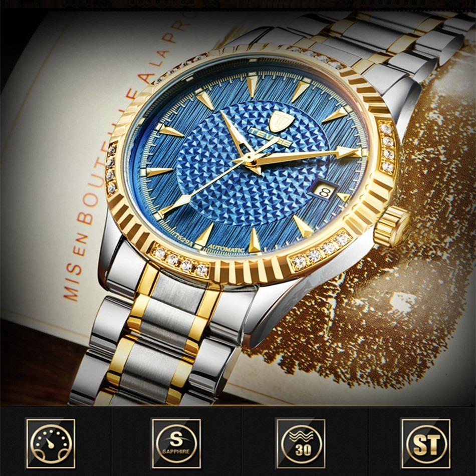 【激安価格】メンズ腕時計 40mm 機械式 自動巻 カレンダー 海外人気 夜光 防水 男性 ウォッチ 紳士 通勤 ファション ブルー_画像3