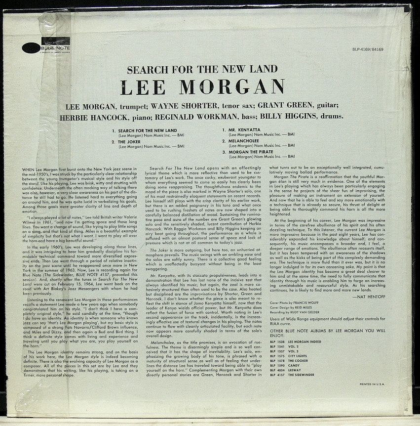 ■【US盤 シュリンク付】Lee Morgan / Search for the New Land Blue Note United Artists VAN GELDER刻印あり _画像2